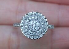 New 10K Sz8 1/2ct Natural Diamond Cluster Right hand Statement Ring White Gold