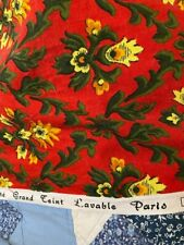 More details for vintage vibrant french red patterned door curtain