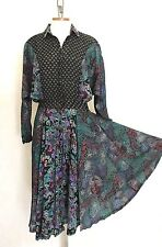 Vintage 70s Ethnic India Dress Floral Abstract Block Print Boho Hippie Patchwork