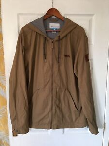 COLUMBIA Men's Beige Hooded Light Bomber Jacket Size XL