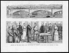 1886 ANTIQUE PRINT-London PUTNEY BRIDGE ouvert Prince Princesse Galles (52)
