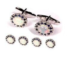 925 Sterling Silver Natural Sapphire & Opal Gem Stone Cufflink & Button Tuxedo