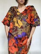 Vintage Italian Design Pure Linen Floral Dress