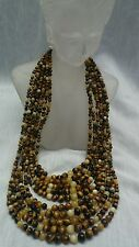 Jay King mine find sterling 925 tiger eye yellow opal 10 strands necklace