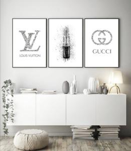 Set Of 3  Fashion Art Perfume Bottles Coco Prints Home Decor Wall Art  A4 A3 S43