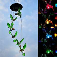 Color-Changing Led Hummingbird Solar Wind Chimes Yard Home Garden Decor