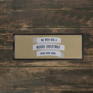 Personalised Christmas Bar Towel Runner Pub Party Mat Beer Party Gold Bauble