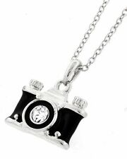 NEW BLACK & SILVER CAMERA CRYSTAL LENS PENDANT NECKLACE