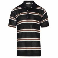 NEW MEN'S POLO SHIRT STRIPED SHORT SLEEVE PIQUE CASUAL WORK T SHIRT SIZE M – 3XL