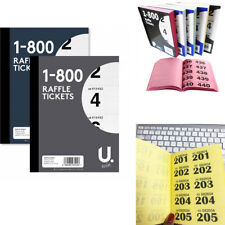 raffle tickets book numbered 1 800 cloakroom bingo tombola draw game security