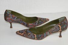 NEW Manolo Blahnik M Srila 50 BB Paisley Green Suede Kitten Heel Shoes 41.5