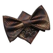Mens Brown Black Paisley Self Bow Tie Silk Necktie Bowtie Pocket Square Set