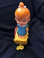 Pebbles Flintstone in Baby Buggy Vintage 1960s Plastic Toy Approx 12 in H
