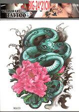 A4 - 24X22CM Serpente Verde Fiore completo indietro sul Petto Braccio Girovita 3D tatuaggio temporaneo