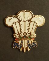 ICH DIEN - Three White Feathers of Wales - Welsh Emblem - Enamel pin Badge ##