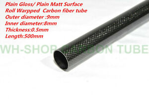 Roll Wrapped 9mm OD X 8mm ID X 500MM 3k Carbon Fiber Tube /Pipes 0.5wall Glossy