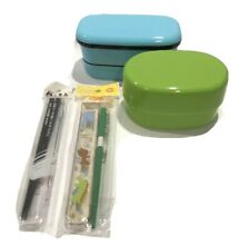 NEW Set/2 Bento Lunch Boxes W/ Chopsticks Made In Japan Food Storage Blue/green