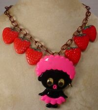 Vintage Celluloid Chain Black American Google Eye Girl & Strawberry Necklace