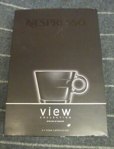 NESPRESSO View Collection 2 Cappuccino Cups & Saucers Set NEW IN BOX
