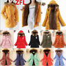 Womens Thicken DUFFLE WOOL Fur Collar Hooded Quilted Jacket Winter Parka Coat 50
