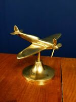 Vintage Brass WW2 SPITFIRE Aeroplane w prop & stand Desk Model Ornament Display