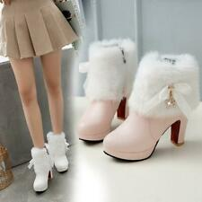 Womens Bow Knot Faux Fur Christmas Ankle Snow Boots High Heels Round Toe Shoes