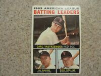 TOPPS 1963 AMERICAN LEAGUE BATTING LEADERS YAZ, KALINE, ROLLINS  CARD # 8 EXC
