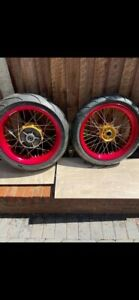 KTM 950-990 Supermoto Spoked Wheels With Brand New Michelin Pilot Tyres.