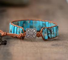 Natural Gemstone Turquoise Oblong Wrap | Cuff Bracelet Blue Leather