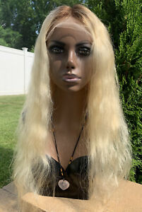 """Lace Front 100% Real Human Hair Wig Blonde (yellow) Ombré Wavy 24""""(stretched)"""