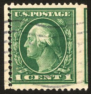#405 1912 1c Green EFO Used Perf 12 Error Imperf Between
