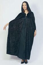 Halloween long black velvet feel hooded cloak cape black widow Costume accessory