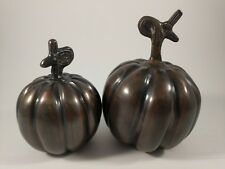Vintage Brass Pumpkin Figurine Set.  Decor, collectible item.