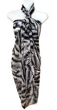 Black Tiger Animal Print Sarong Pareo Big Scarf Wrap Swimsuit Beach Cover 85