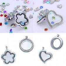 Women DIY Living Memory Glass Locket Pendant Necklace + Chain For Floating Charm
