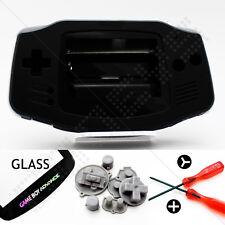 New Black Shell & Glass Screen Nintendo Game Boy Advance GBA Housing/Case Kit