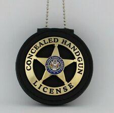 Handgun License  Badge & Leather holder Belt Clip gold plated