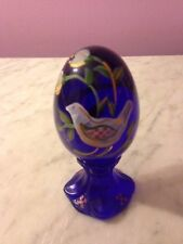 "Fenton Hand painted Cobalt Blue Bird 3.5"" Egg on Stand Paperweight   g6"
