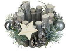 Rustic Woodland tealight holder Christmas table Centrepiece With Stars