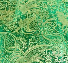 "GREEN/GOLD PAISLEY METALLIC BROCADE FABRIC 60"" WIDE 1 YARD"