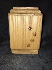 Vertical Oak Pet Urn With Laser Engraved Paw Prints