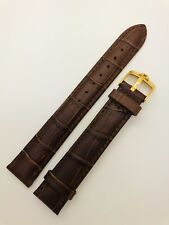 18mm Replacement Omega Brown Genuine Leather Watch Strap With Gold Pin Buckle