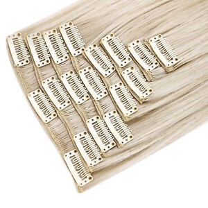 "Clip in Hair Extensions Platinum Blonde Straight 22"" Full Head 8 Pcs 150g"