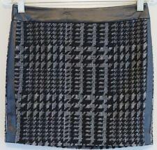 NWT McGinn Black Vegan Leather Trim Textured-Houndstooth Mini Skirt Size M/L