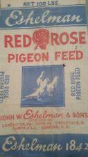 Vintage Eshelman Red Rose Feed Sack Pigeon Tampa Lancaster York Circleville