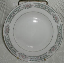 """Lynns Fine China Grace 7-3/4"""" Soup/Cereal Bowl Grey Gray Pink Flower Silver Trim"""