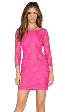 DVF Diane Von Furstenberg ZARITA Lace  V Back Zip Dress Hot Rose US 6 $345