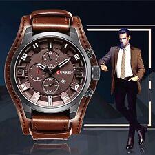 Montre Militaire Sport Homme Top MarQUE Quartz Date Large Bracelet Cuir +BOITE