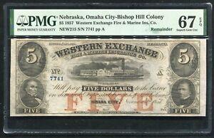 1857 $5 WESTERN EXCHANGE FIRE & MARINE OMAHA CITY, NE OBSOLETE PMG UNC-67EPQ