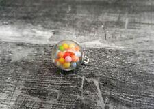 Glass Charm Globe Pendant Rainbow Ball Pendant Crystal Gumball 21mm